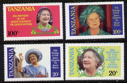 Tanzania 1985 Life & Times of HM Queen Mother set of 4 (SG 425-8) unmounted mint