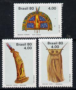 Brazil 1980 Indian Art (Ritual Masks) set of 3 unmounted mint, SG 1837-39*