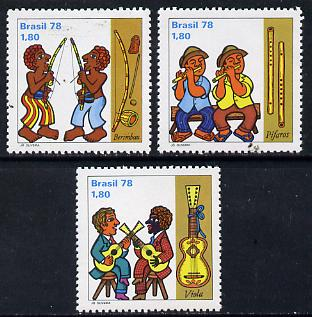 Brazil 1977 Folk Musicians set of 3, SG 1721-23 unmounted mint