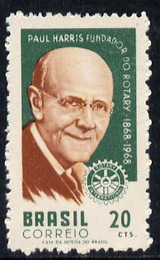 Brazil 1968 Rotary (Paul  Harris) without gum (as issued) SG 1210*, stamps on rotary