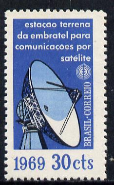 Brazil 1969 Satellite Communications 30c without gum (as issued) SG 1246