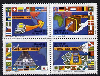 Brazil 1989 Postal Services se-tenant block of 4 unmounted mint, SG 2345-48