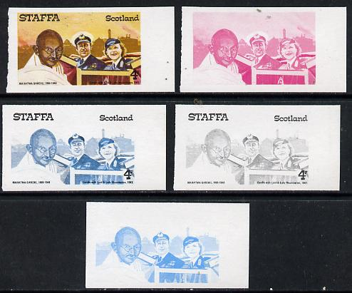 Staffa 1979 Gandhi 4p (with Lord & Lady Mountbatten) set of 5 imperf progressive colour proofs comprising 3 individual colours (red, blue & yellow) plus 2 and all 4-colou...