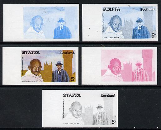 Staffa 1979 Gandhi 5p (with Ramsay MacDonald) set of 5 imperf progressive colour proofs comprising 3 individual colours (red, blue & yellow) plus 2 and all 4-colour compo...