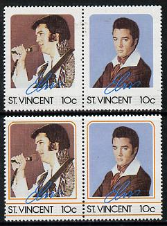 St Vincent 1985 Elvis Presley (Leaders of the World) 10c se-tenant reprint proof pair with orange (frame) omitted plus normal pair unmounted mint, as SG 919a