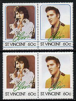 St Vincent 1985 Elvis Presley (Leaders of the World) 60c se-tenant reprint proof pair with blue-green (frame) omitted plus normal pair unmounted mint, as SG 921a