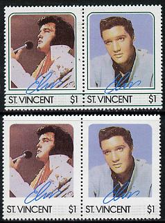 St Vincent 1985 Elvis Presley (Leaders of the World) $1 se-tenant reprint proof pair with blue-green (frame) omitted plus normal pair unmounted mint, as SG 923a