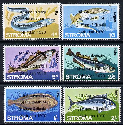 Stroma 1970 Fish perf set of 6 each opt'd '5th Anniversary of Death of Sir Winston Churchill' unmounted mint
