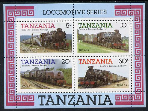Tanzania 1985 Railways (1st Series) m/sheet containing 4 vals (SG MS 434) unmounted mint
