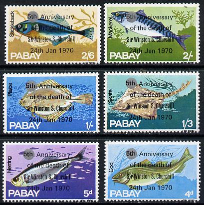 Pabay 1970 Fish perf set of 6 each with silver dot obliterating '6th' then opt'd '5th Anniversary of Death of Sir Winston Churchill' unmounted mint