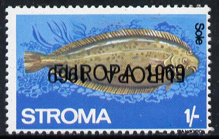 Stroma 1969 Fish 1s (Sole) perf single with 'Europa 1969' opt doubled, one inverted unmounted mint*
