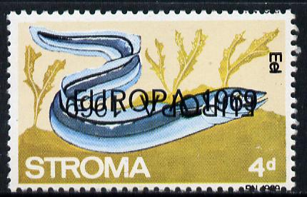 Stroma 1969 Fish 4d (Eel) perf single with 'Europa 1969' opt doubled, one inverted unmounted mint*