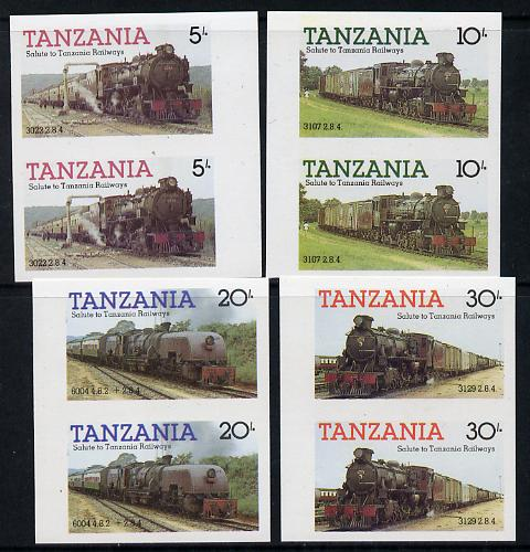 Tanzania 1985 Railways (1st Series) set of 4 in imperf marginal pairs (as SG 430-3) unmounted mint
