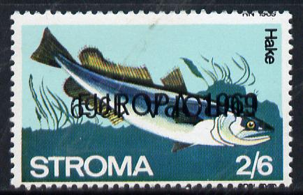 Stroma 1969 Fish 2s6d (Hake) perf single with 'Europa 1969' opt doubled, one inverted unmounted mint*