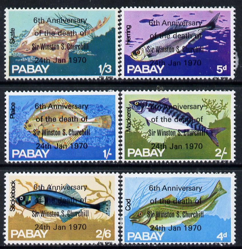 Pabay 1970 Fish perf set of 6 each opt'd in error '6th Anniversary of Death of Sir Winston Churchill' unmounted mint