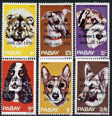 Pabay 1970 Dogs perf set of 6 each opt'd in error '6th Anniversary of Death of Sir Winston Churchill' unmounted mint