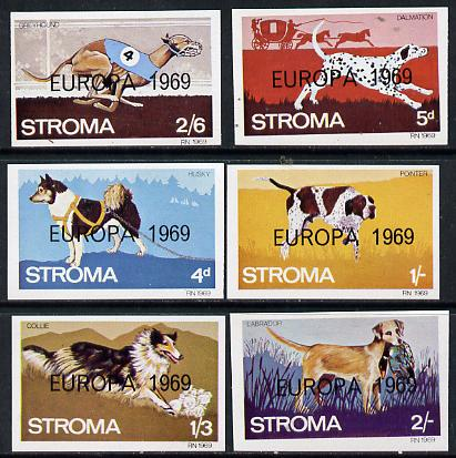 Stroma 1969 Dogs imperf set of 6 each opt'd 'Europa 1969' unmounted mint