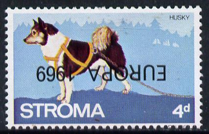 Stroma 1969 Dogs 4d (Husky) perf single with 'Europa 1969' opt inverted unmounted mint*