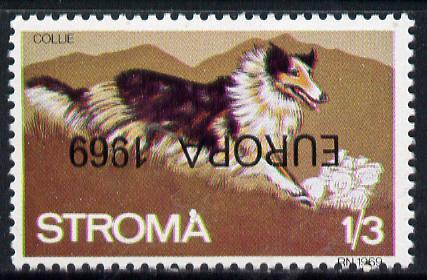 Stroma 1969 Dogs 1s3d (Collie) perf single with 'Europa 1969' opt inverted unmounted mint