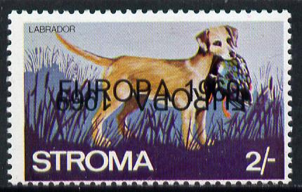 Stroma 1969 Dogs 2s (Labrador) perf single with 'Europa 1969' opt doubled, one inverted unmounted mint