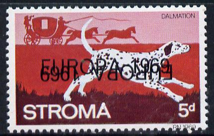Stroma 1969 Dogs 5d (Dalmation) perf single with 'Europa 1969' opt doubled, one inverted unmounted mint*