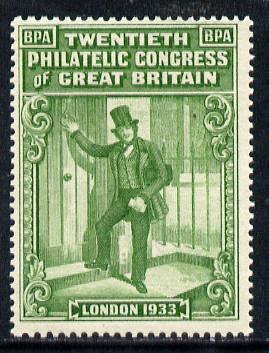 Cinderella - Great Britain 1933 BPA label in green to mark the 20th Philatelic Congress (showing Postman) unmounted mint