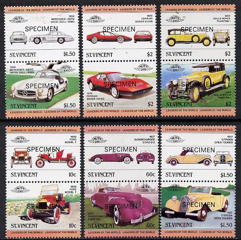 St Vincent 1984 Cars #1 (Leaders of the World) set of 12 opt'd SPECIMEN unmounted mint, as SG 727-38