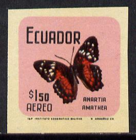 Ecuador 1970 Butterflies $1.50 (Anartia amathea) unmounted mint imperf with coloured background (as SG 1389)*