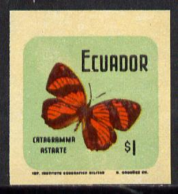 Ecuador 1970 Butterflies $1 (Catagramma astarte) in unmounted mint imperf with coloured background (as SG 1387)*