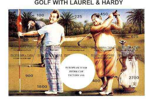 Touva 1995 Golf with Laurel & Hardy composite sheet containing complete imperf set of 10 overprinted with large white golf ball and