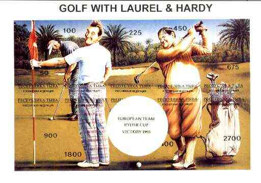 Touva 1995 Golf with Laurel & Hardy composite sheet containing complete imperf set of 10 overprinted with large white golf ball and 'European Team Ryder Cup Victory 1995' in gold unmounted mint
