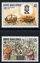 Cyprus 1982 Europa set of 2 (Historical Events) SG 586-87 unmounted mint*, stamps on ships, stamps on europa, stamps on history, stamps on battles, stamps on religion