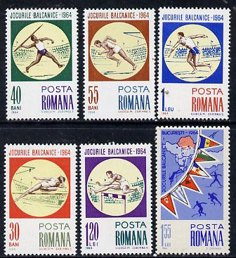 Rumania 1964 Balkan Games set of 6 unmounted mint, SG 3165-70, Mi 2299-2304