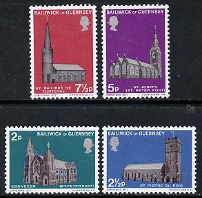 Guernsey 1971 Christmas - Churches 2nd series, set of 4 unmounted mint SG 63-66