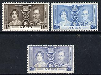 Aden 1937 KG6 Coronation set of 3 unmounted mint, SG 13-15