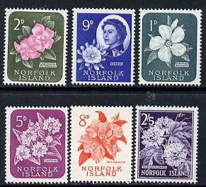 Norfolk Island 1960 Six Flower vals from def set comprising 1d, 2d, 5d, 8d, 9d & 2s5d values unmounted mint, between SG 24 & 33*