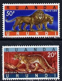Ruanda-Urundi 1961 Leopard & Lions set of 2 unmounted mint, SG 229-30*