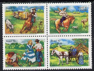Brazil 1992 'Abrafex 92' Stamp Exhibition se-tenant block of 4 unmounted mint, SG 2521-24