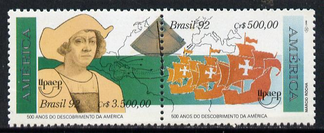 Brazil 1992 Columbus Anniversary se-tenant pair unmounted mint, SG 2528-29