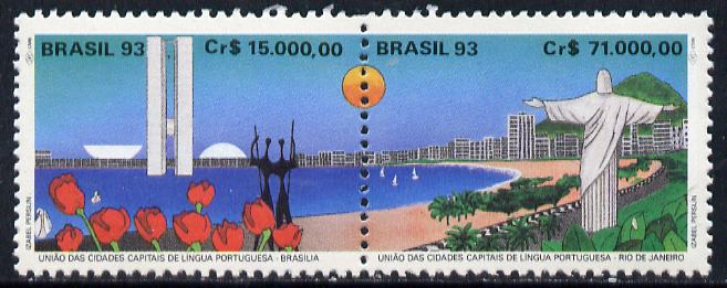 Brazil 1993 Portuguese Speaking Capitals se-tenant pair, SG 2579-80, stamps on statue     tourism