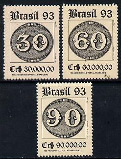 Brazil 1993 150th Anniversary of First Brazilian Stamps set of 3, SG 2581-83