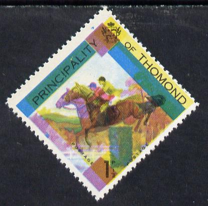 Thomond 1960 Show jumping 1.5d (Diamond-shaped) single showing black & yellow misplaced by 2.5mm, nice double image unmounted mint*