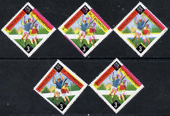 Thomond 1960 Hurling 3d (Diamond-shaped) four singles showing progressive shifts from 4 printings, misplaced by 1mm x 2, 2mm & 4mm all unmounted mint