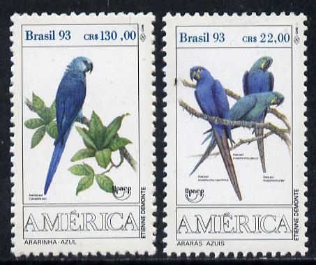 Brazil 1993 Endangered Macaws set of 2 unmounted mint, SG 2599-2600*