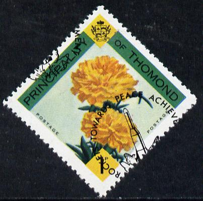 Thomond 1968 Carnation 1d (Diamond-shaped) with opt 'Rockets towards Peace Achievement' misplaced by about 10mm unmounted mint*