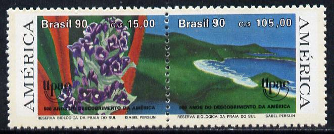 Brazil 1990 Columbus Anniversary (Nature Reserve) se-tenant pair unmounted mint, SG 2450-51