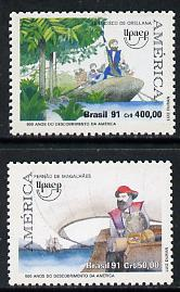 Brazil 1991 Voyages of Discovery set of 2 unmounted mint, SG 2498-99*