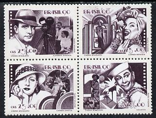 Brazil 1990 Film Industry se-tenant block of 4 unmounted mint, SG 2434-37