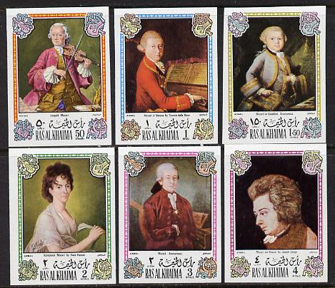 Ras Al Khaima 1972 Portraits of Mozart  imperf set of 6 unmounted mint (Mi 642-47B)
