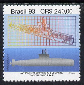 Brazil 1993 Launch of First Brazilian Built Submarine unmounted mint, SG 2612*